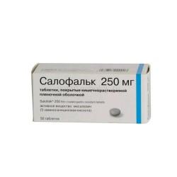 Салофальк, табл. п/о кишечнораств. пленочной 250 мг №50